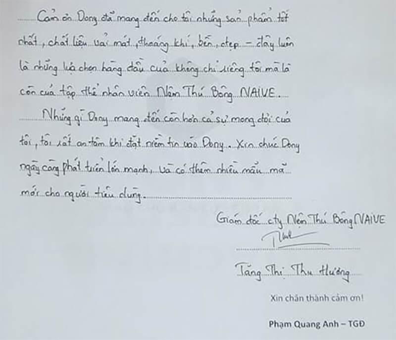 Toàn văn cảm nhận viết tay trên giấy: