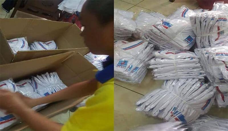Đóng gói trước khi gửi đồng phục cho Petro ở Lào