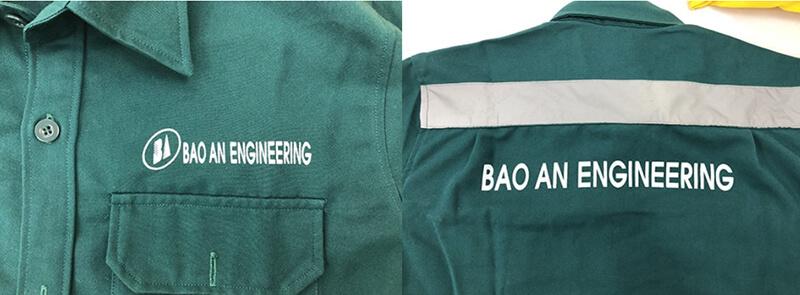 Logo in trước ngực và sau lưng