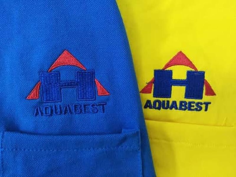 Mẫu thêu và in logo A Hủi Aquabest