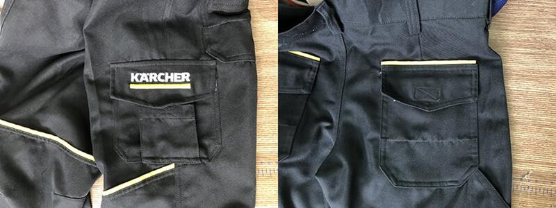 Logo thêu trên nắp túi và chi tiết túi bên hông và túi sau quần