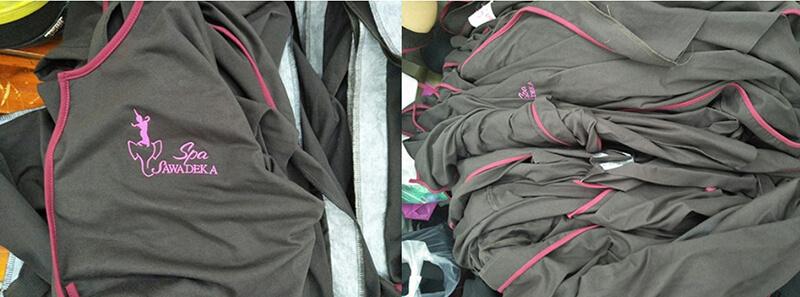 Logo thêu và thân cắt đồng phục spa