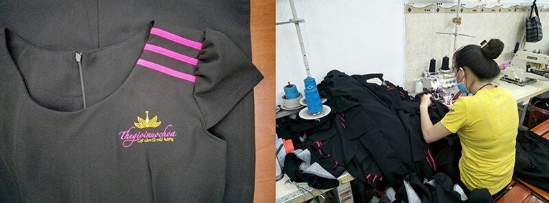 Logo và thân cắt đồng phục
