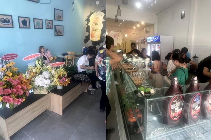 Không gian quán Cột điện milk tea