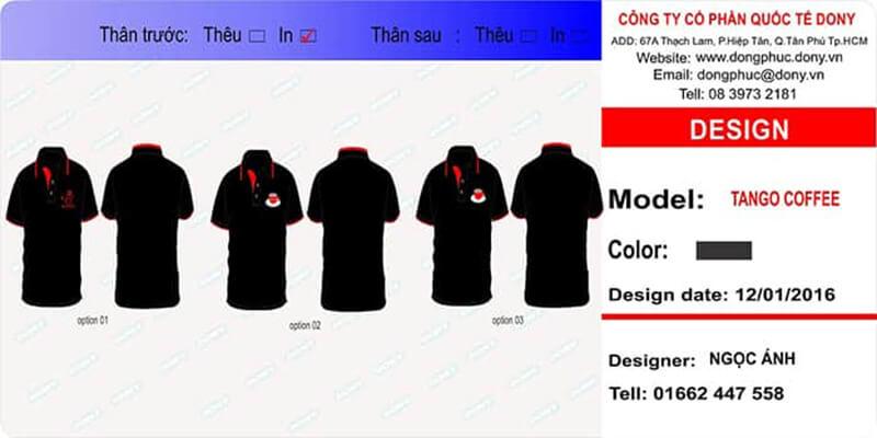 Thiết kế áo thun đồng phục quán cafe với 3 option
