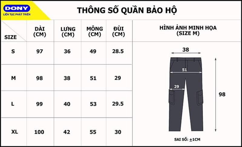 Bảng thông số size đồng phục quần bảo hộ
