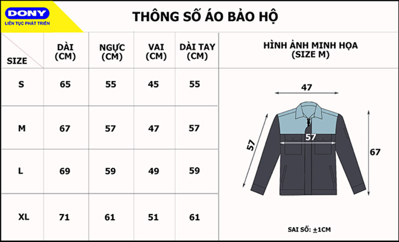 Thông số size áo bảo hộ