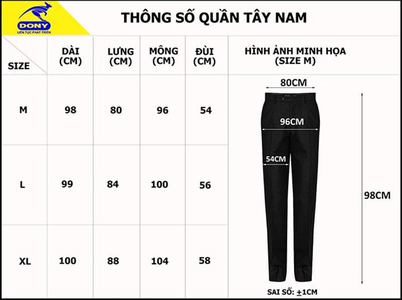 Bảng thông số size đồng phục quần tây nam