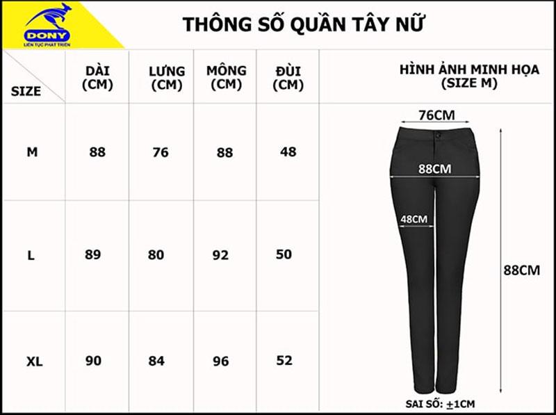 Bảng thông số size đồng phục quần tây nữ