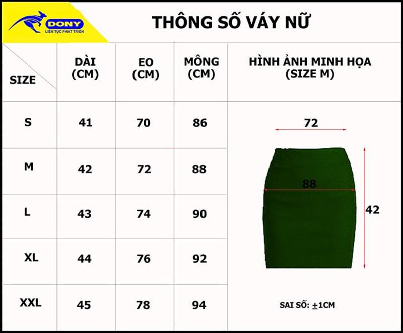 Bảng thông số size đồng phục chân váy