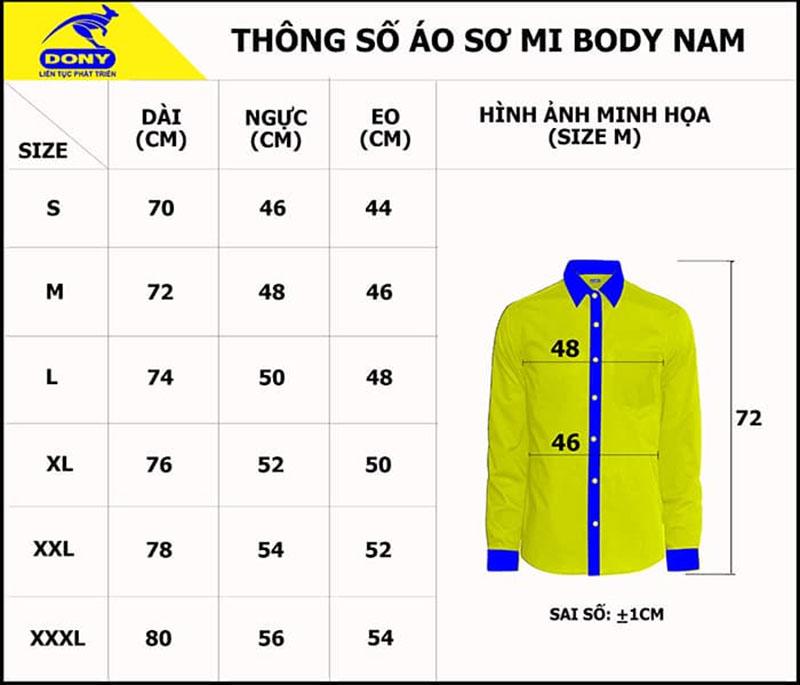 Bảng thông số size đồng phục áo sơ mi nam body