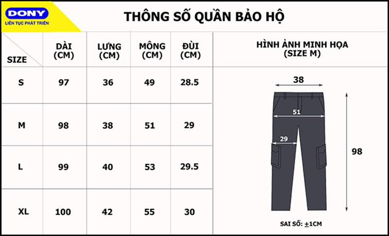 Thông số size quần bảo hộ