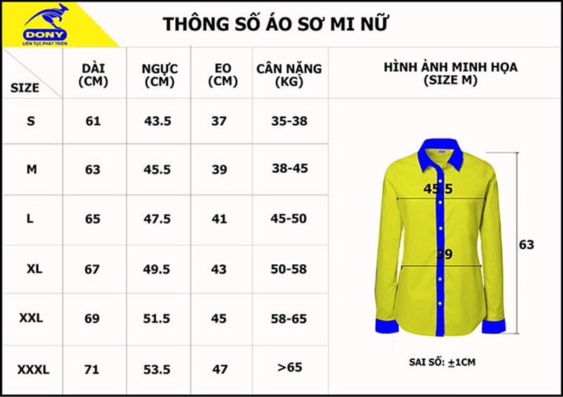 Bảng thông số size đồng phục áo sơ mi nữ
