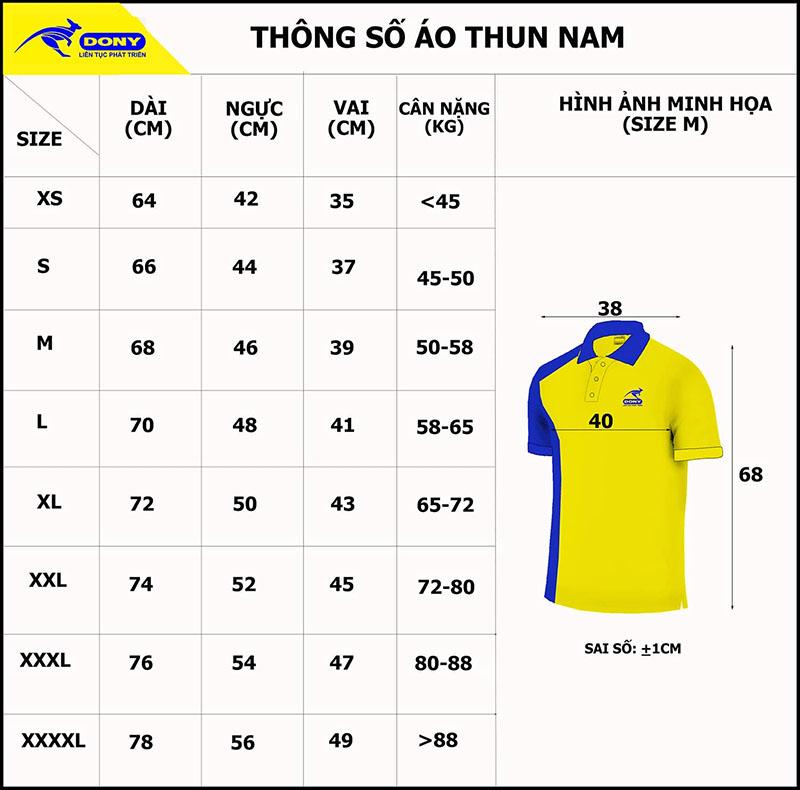 Bảng thông số size đồng phục áo thun cổ trụ nam