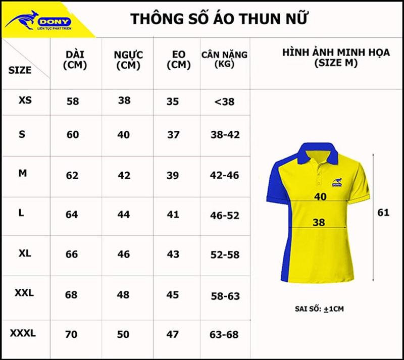 Bảng thông số size đồng phục áo thun cổ trụ nữ