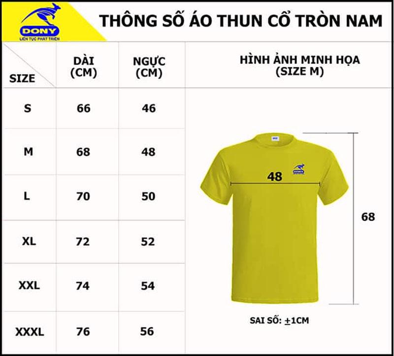 Bảng thông số size đồng phục áo thun cổ tròn nam