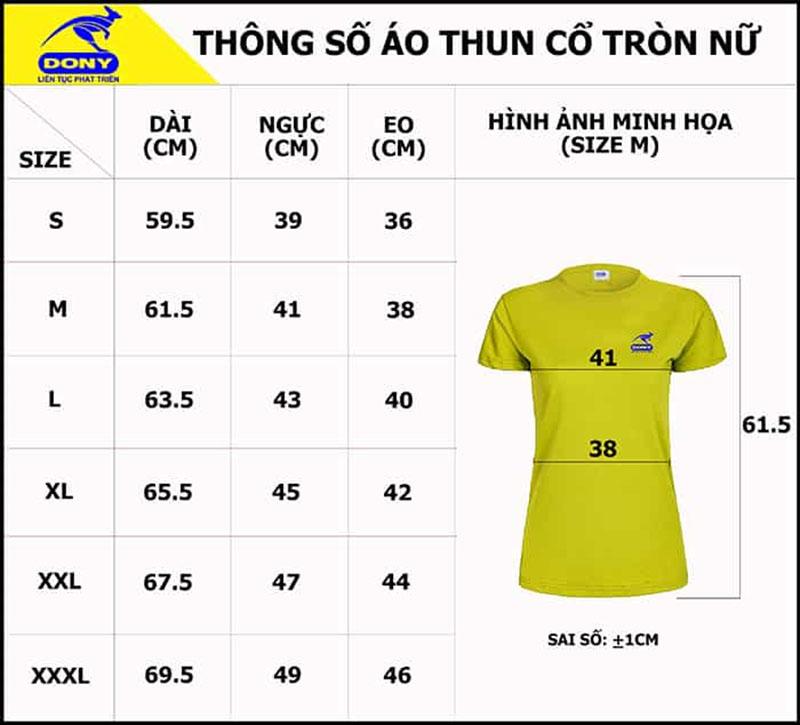 Bảng thông số size đồng phục áo thun cổ tròn nữ