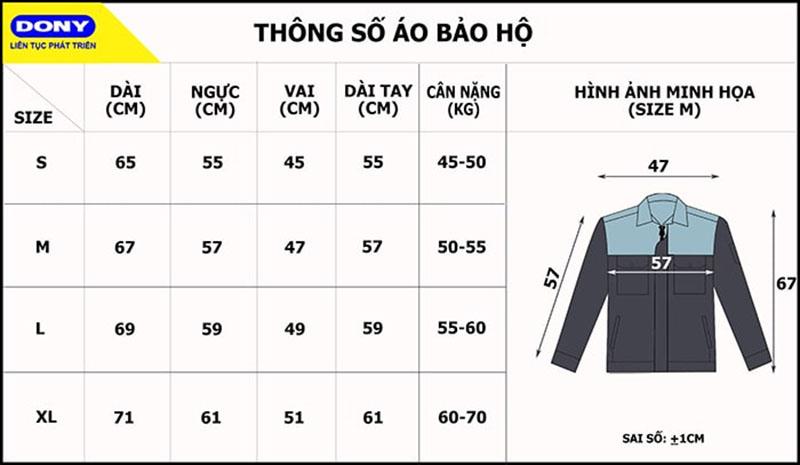 Bảng thông số size đồng phục áo bảo hộ