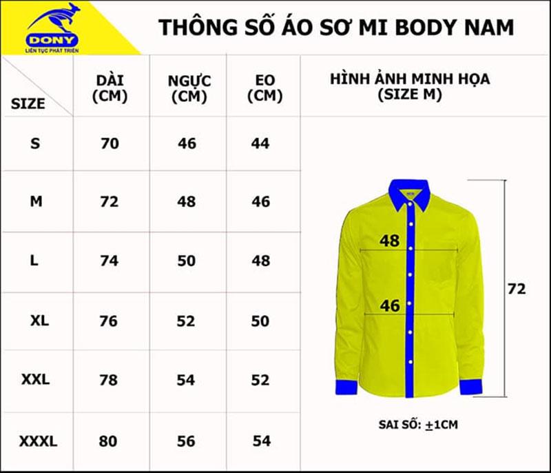 Bảng thông số size đồng phục sơ mi nam body