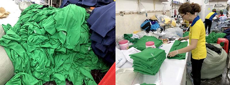 Áo có thiết kế đơn giản, lựa chọn tông màu xanh lá. Các logo in được in rõ nét trên các vị trí của áo.