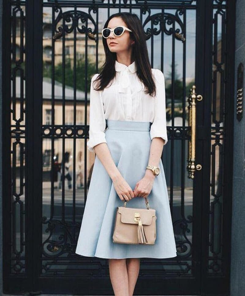 Chân váy midi phối với áo sơ mi cực đẹp
