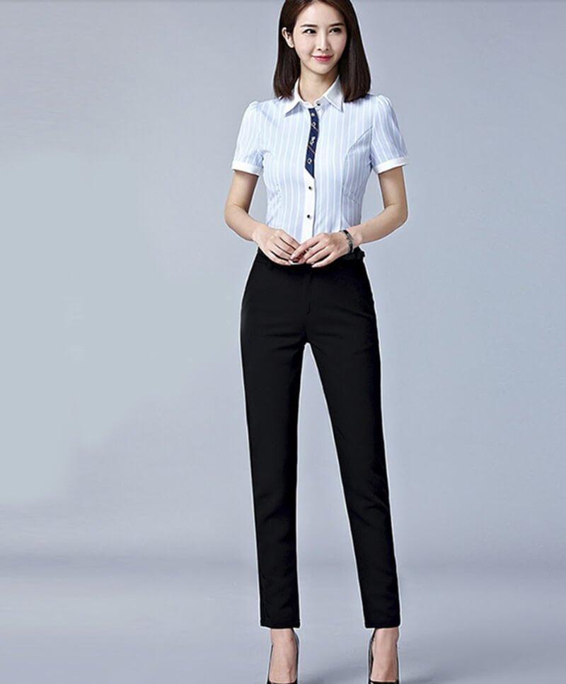 Quần tây kết hợp áo sơ mi- trang phục dành cho các nàng công sở
