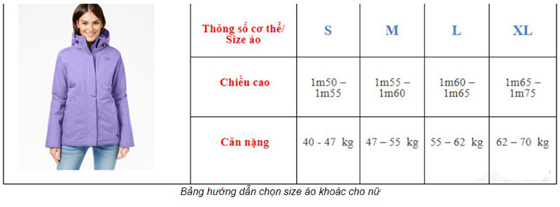 Cách chọn size áo khoác nữ theo size Việt Nam