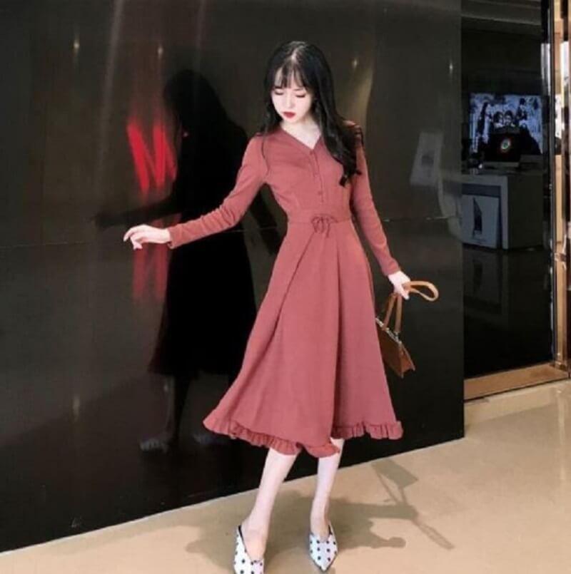 Váy xòe liền thân thắt eo dịu dàng