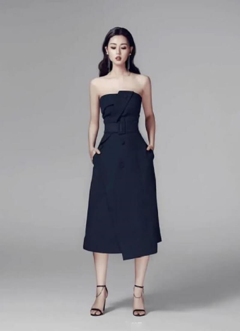 Váy xòe liền thân cúp ngực sang trọng, quý phái