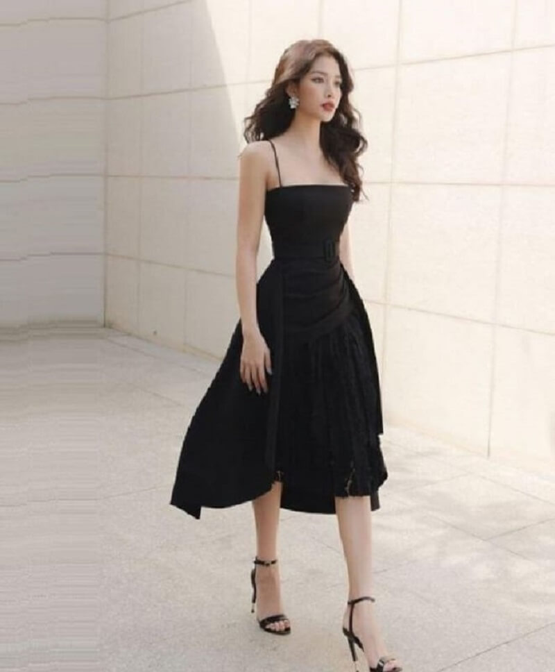 Váy xòe liền thân 2 dây nữ tính, quyến rũ