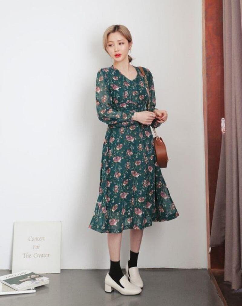 Điệu đà với váy vintage hoa