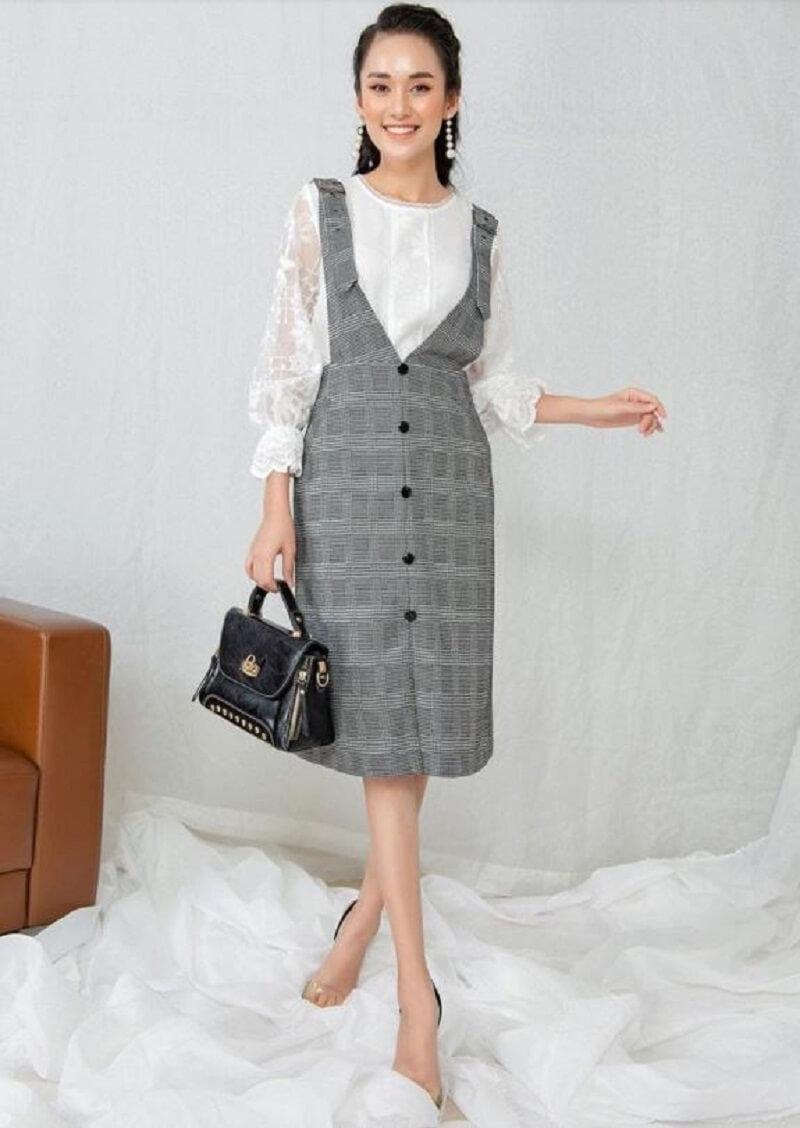 Đầm yếm màu ghi trẻ trung thanh lịch cho nàng đến công sở