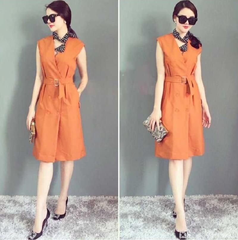 Chiếc đầm vest màu cam cũng là một lựa chọn không tồi