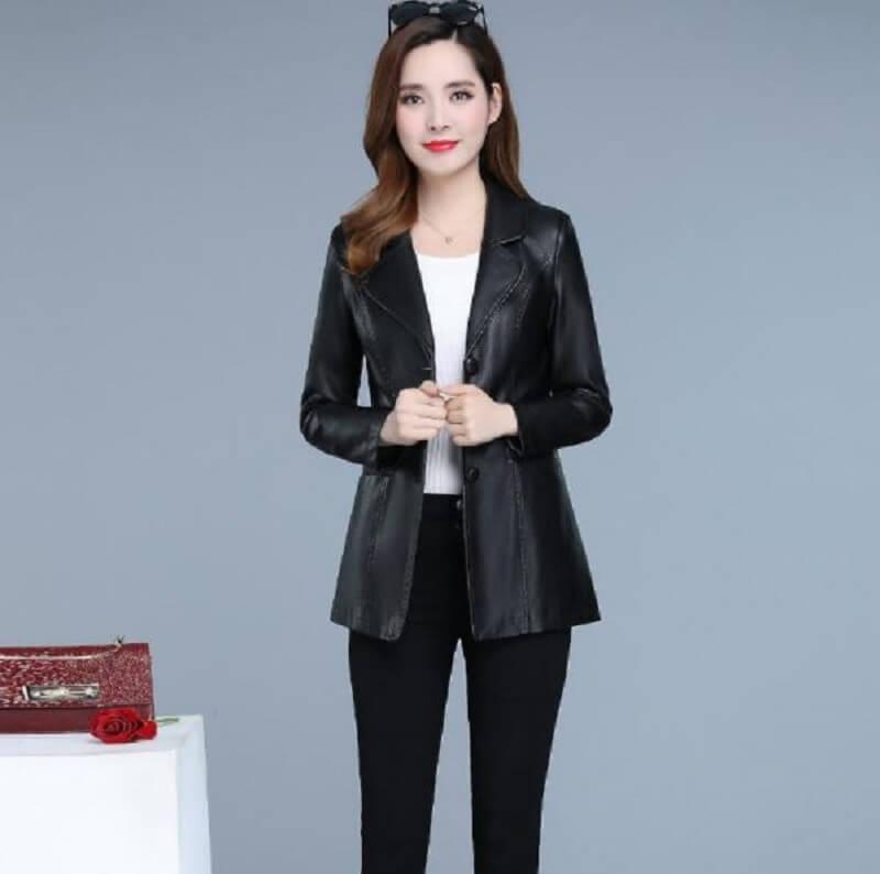 Áo khoác da công sở mẫu nữ