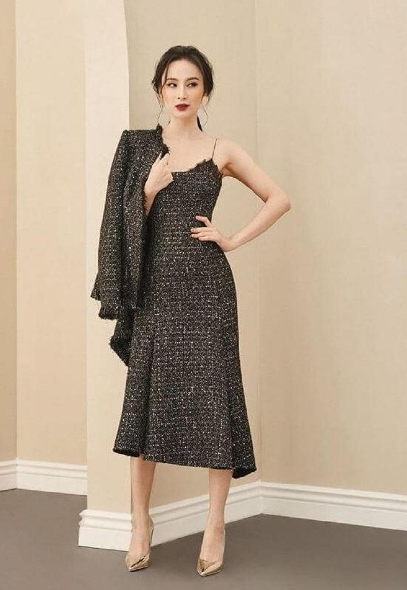 Váy đầm phối áo khoác ngoài sang trọng, trang nhã