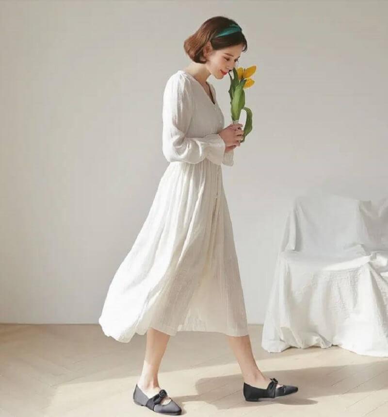 Váy đầm vải đũi ngọt ngào cho nữ công sở