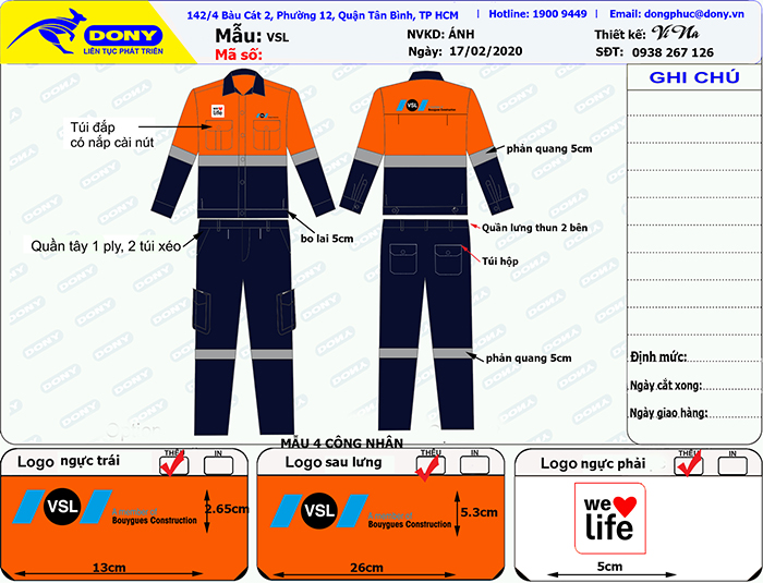 Bản thiết kế mẫu áo bảo hộ VSL